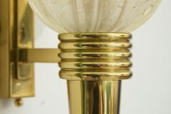 Pair Of Murano Glass Torchiere Wall Sconces - 1946961
