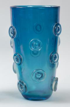 Pair Of Tall Murano Blown Irredescent Acquamarine Vases Contemporary - 1399161