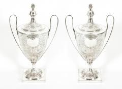 Pair Old English Plated Trophy Cup Urn - 1130366