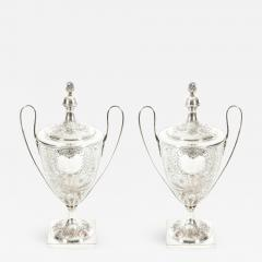 Pair Old English Plated Trophy Cup Urn - 1133357