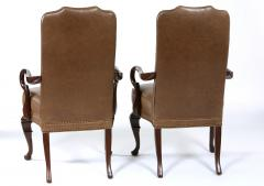 Pair Queen Anne Style Leather Armchairs - 1334758