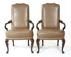 Pair Queen Anne Style Leather Armchairs - 1334759