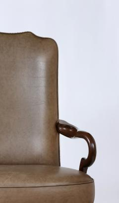 Pair Queen Anne Style Leather Armchairs - 1334761