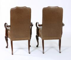 Pair Queen Anne Style Leather Armchairs - 1334768