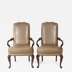 Pair Queen Anne Style Leather Armchairs - 1336900