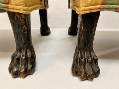 Pair Regency Hairy Paw Foot Stools - 1916552