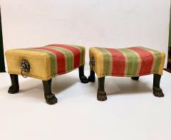 Pair Regency Hairy Paw Foot Stools - 1916553