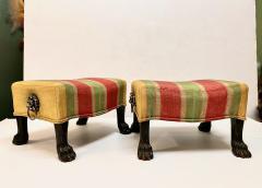 Pair Regency Hairy Paw Foot Stools - 1916554