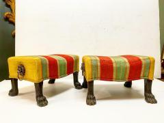 Pair Regency Hairy Paw Foot Stools - 1916555