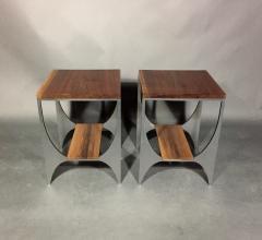 Pair Richard Velloso Curves of Grace Black Walnut Steels Side Tables - 1316635