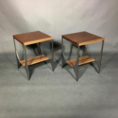 Pair Richard Velloso Curves of Grace Black Walnut Steels Side Tables - 1316637