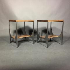 Pair Richard Velloso Curves of Grace Black Walnut Steels Side Tables - 1316642