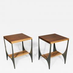 Pair Richard Velloso Curves of Grace Black Walnut Steels Side Tables - 1318689