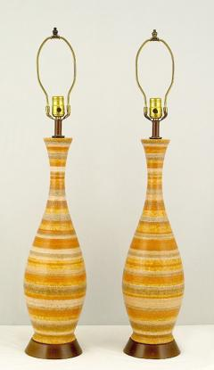 Pair Striped Salt Glazed Pottery Table Lamps - 72909