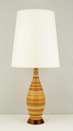 Pair Striped Salt Glazed Pottery Table Lamps - 72910