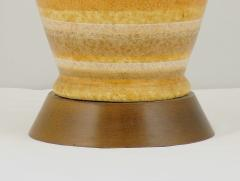 Pair Striped Salt Glazed Pottery Table Lamps - 72913