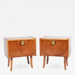 Pair Swedish Burl elm night stands 1950s - 1494333