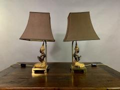 Pair Thai Thepphanom Angel Table Lamps Brass Base - 1806001