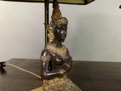 Pair Thai Thepphanom Angel Table Lamps Brass Base - 1806014