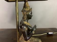 Pair Thai Thepphanom Angel Table Lamps Brass Base - 1806016