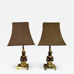 Pair Thai Thepphanom Angel Table Lamps Brass Base - 1810093