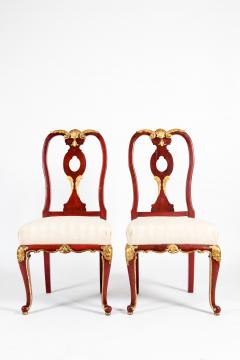 Pair Wood Framed Gilt Design Detail Side Chairs - 1037734