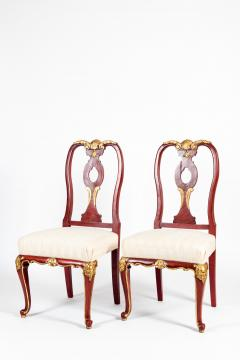 Pair Wood Framed Gilt Design Detail Side Chairs - 1037746