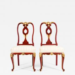 Pair Wood Framed Gilt Design Detail Side Chairs - 1039721