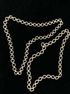 Pair heavy 14k gold link textured Necklaces Hand made Vintage 60s - 1788740