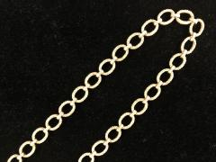 Pair heavy 14k gold link textured Necklaces Hand made Vintage 60s - 1788745