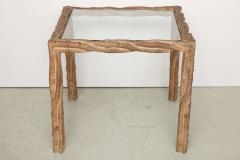 Pair mid century carved side tables - 940511