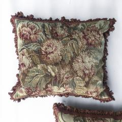 Pair of 18th Century French Floral Tapestry Large Square Cushions - 979832
