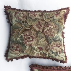 Pair of 18th Century French Floral Tapestry Large Square Cushions - 979834