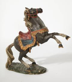 Pair of 18th Century Italian Carved Fruitwood Polychrome Horses - 1571884