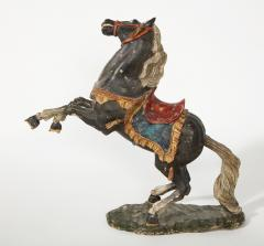 Pair of 18th Century Italian Carved Fruitwood Polychrome Horses - 1571885