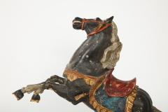 Pair of 18th Century Italian Carved Fruitwood Polychrome Horses - 1571887