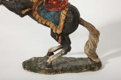 Pair of 18th Century Italian Carved Fruitwood Polychrome Horses - 1571888