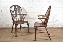 Pair of 18th century English George III Yew Wood Cabriole Leg Windsor Chairs - 1051199