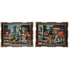 Pair of 19 century Chinese Reverse Painted Mirror Pictures - 1622563