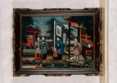 Pair of 19 century Chinese Reverse Painted Mirror Pictures - 1622564