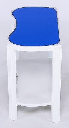Pair of 1930s Art Deco White Lacquer and Blue Mirror Side Tables - 52583