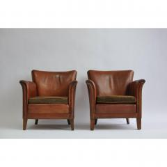 Pair of 1930s Danish Leather Club Chairs - 1743059