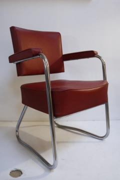 Pair of 1930s Red Vinyl French Chairs - 1204748