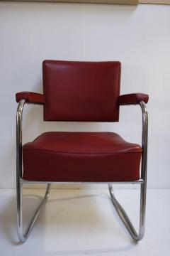Pair of 1930s Red Vinyl French Chairs - 1204749
