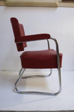 Pair of 1930s Red Vinyl French Chairs - 1204750