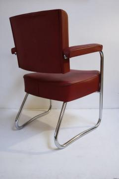 Pair of 1930s Red Vinyl French Chairs - 1204751