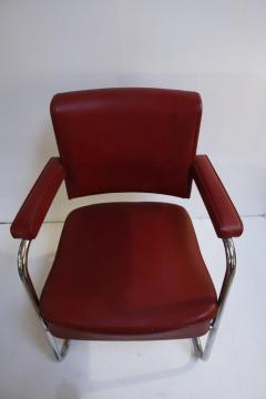 Pair of 1930s Red Vinyl French Chairs - 1204752