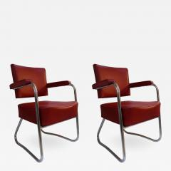 Pair of 1930s Red Vinyl French Chairs - 1204834