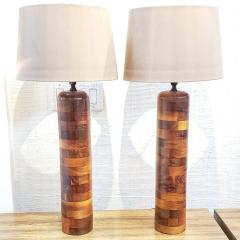 Pair of 1930s Turned Wooden Lamps - 1648406