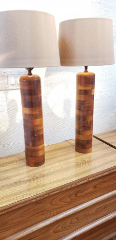 Pair of 1930s Turned Wooden Lamps - 1648409